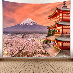 YISURE Japanese Tapestry Wall Hanging Mount Fuji Mountain with Pink Cherry with Japan Pagoda Backdrop Colorful Clouds in The Sky Tapestries for Dorm Bedroom Living Room Home Decor, 59x51 Inch