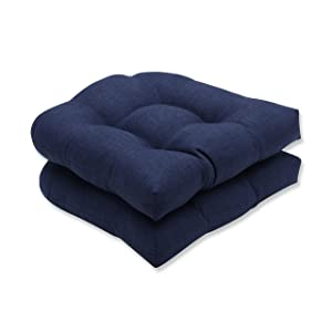 Pillow Perfect Outdoor/Indoor Rave Indigo Wicker Seat Cushion (Set of 2)