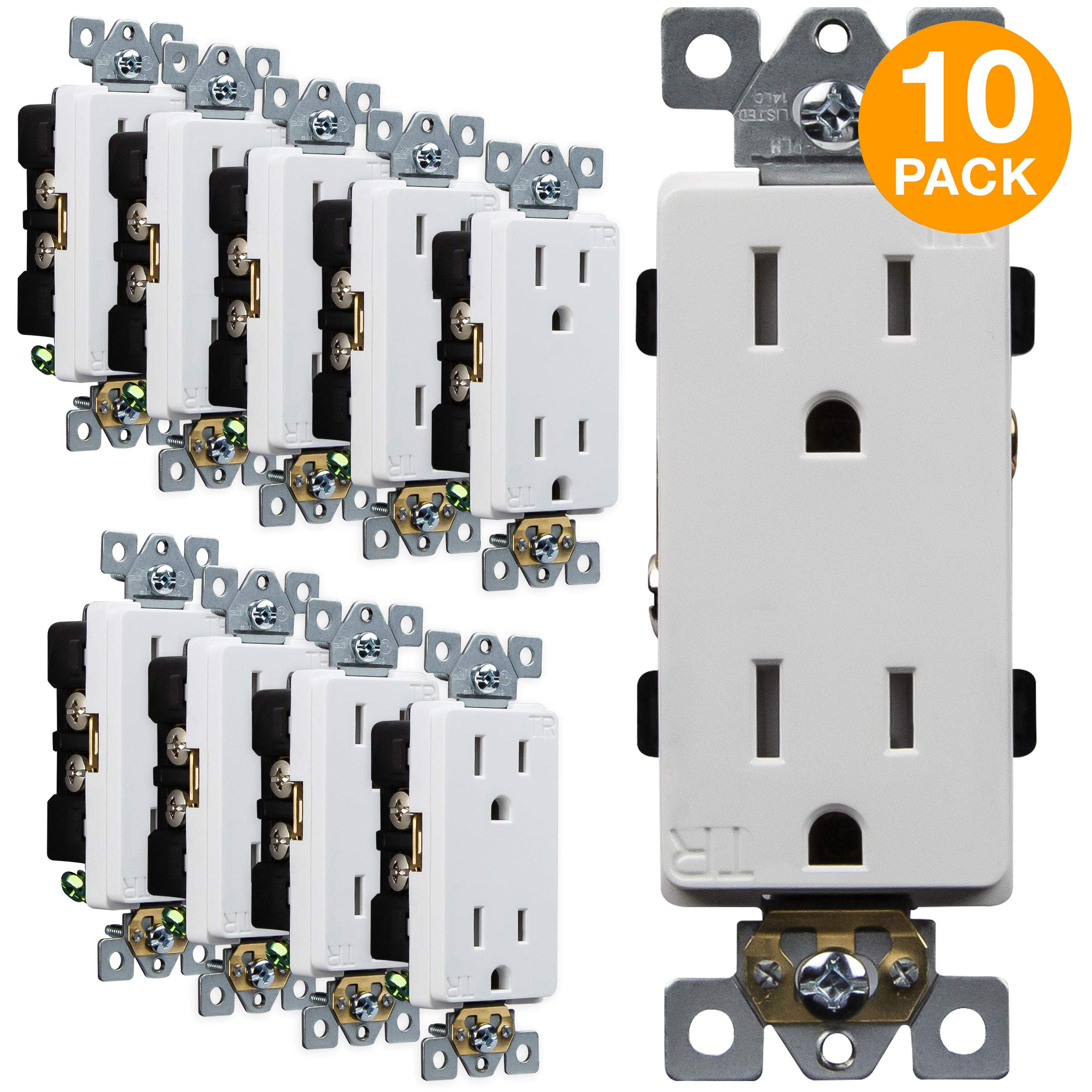 ENERLITES Decorator Receptacle Outlets, Tamper-Resistant Receptacle, Industrial Grade, 15A 125V, Self-Grounding, 2-Pole, 3-Wire, 5-15R, UL Listed, 63150-TR, White (10 Pack)