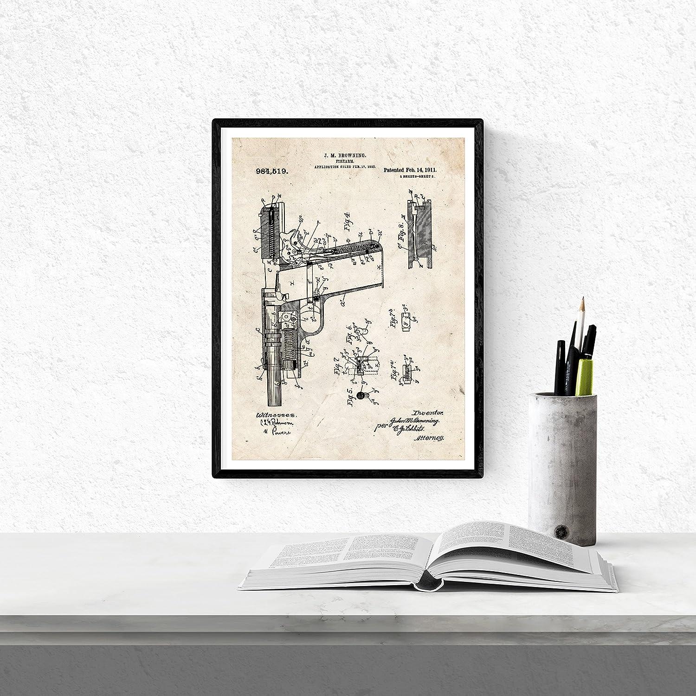 Nacnic Vintage - Pack de 4 Láminas con Patentes de Armas. Set de Posters con inventos y Patentes Antiguas. Elije el Color Que Más te guste.