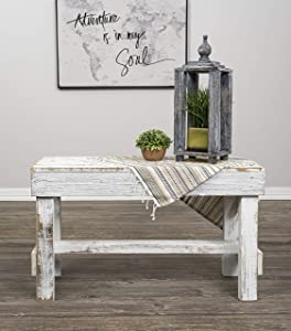 Natural Reclaimed Barnwood Rustic Farmhouse Bench, USA Handmade Country Living Decor by Del Hutson Designs (Distressed White)