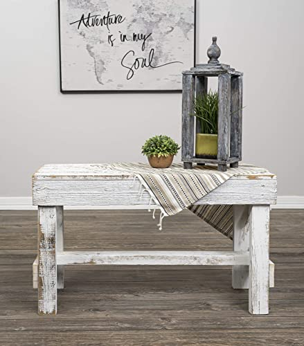 Natural Reclaimed Barnwood Rustic Farmhouse Bench, USA Handmade Country Living Decor by Del Hutson Designs Distressed White
