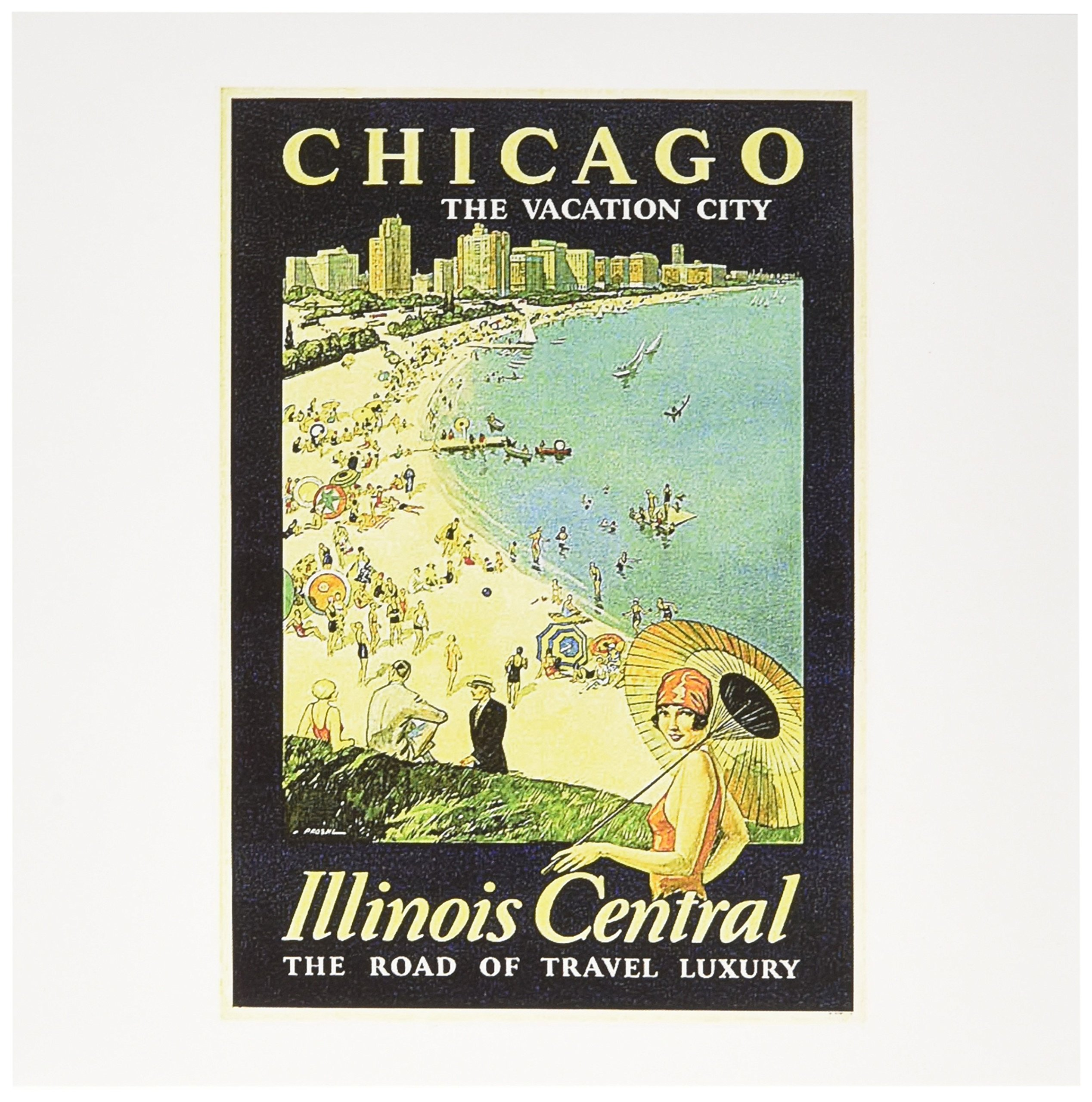 3dRose Vintage Chicago The Vacation City Travel Poster - Greeting Cards, 6 x 6 inches, set of 12 (gc_126038_2)