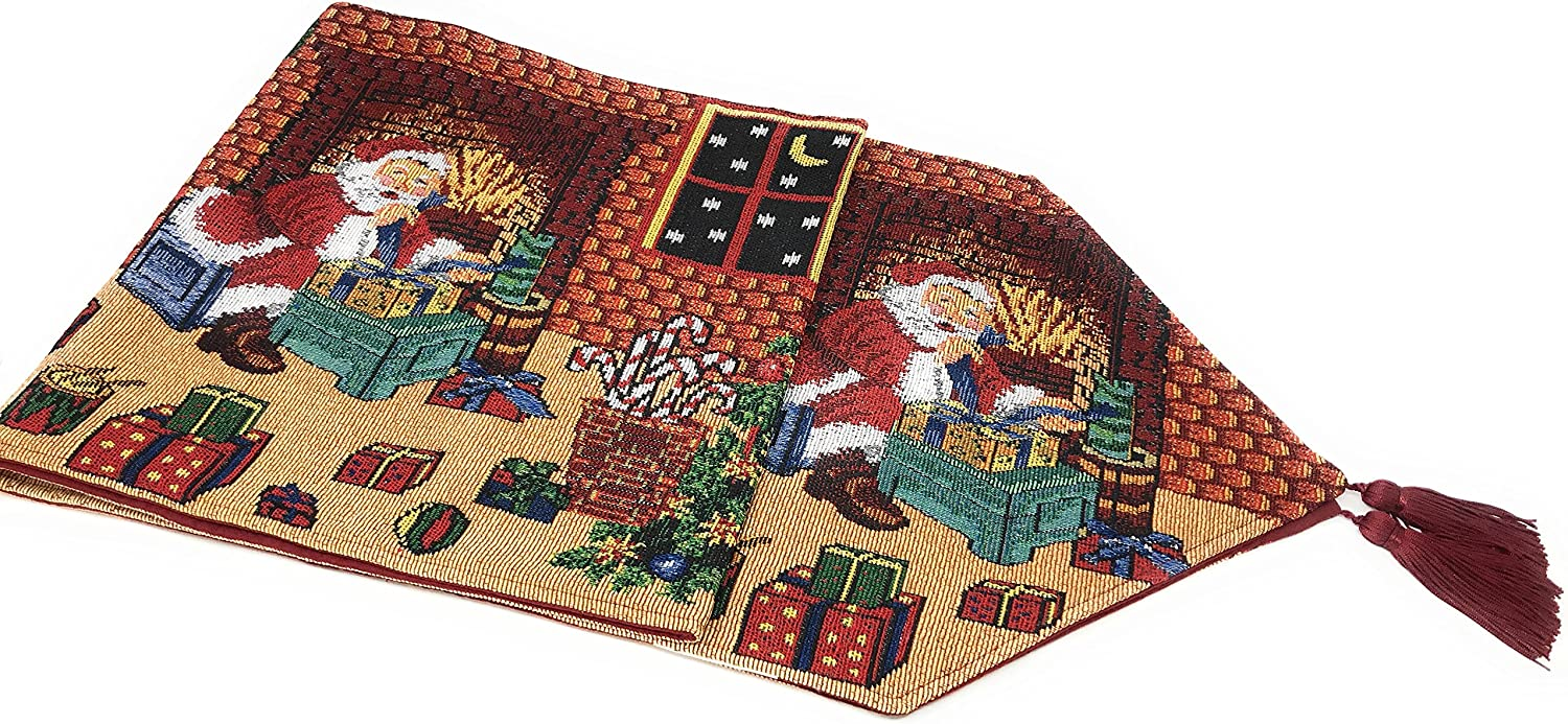 Tache Home Fashion Last Minute Preparations Christmas Festive Holiday Decorative Tapestry Table Runners, 13x54