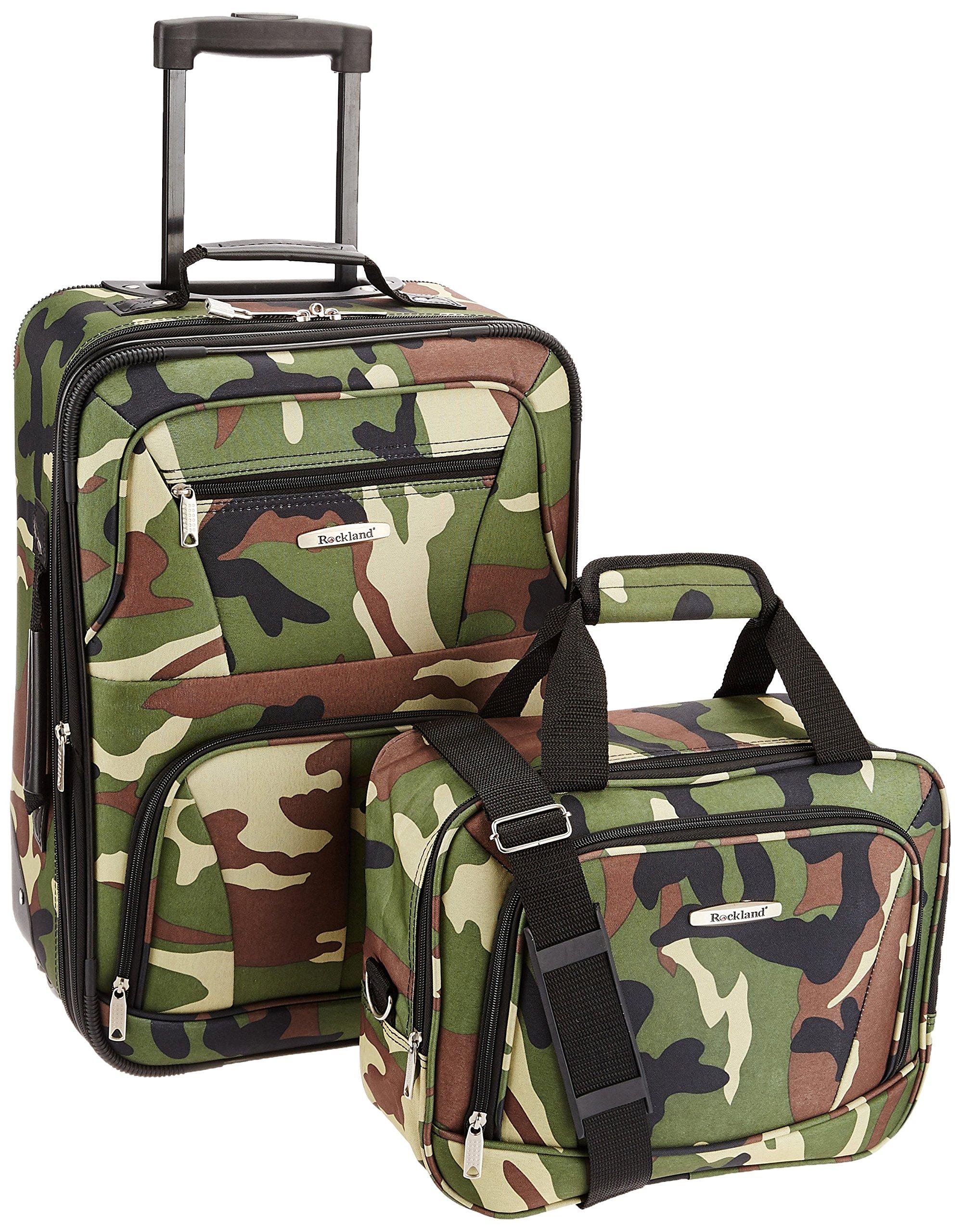 Rockland Luggage 2 Piece Printed Luggage Set, Camouflage, Medium by Rockland