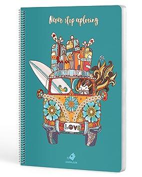 Cuadernos Camaleón, tamaño A4, espiral, cuadricula 4x4, tapa dura, modelo never stop exploring: Amazon.es: Oficina y papelería