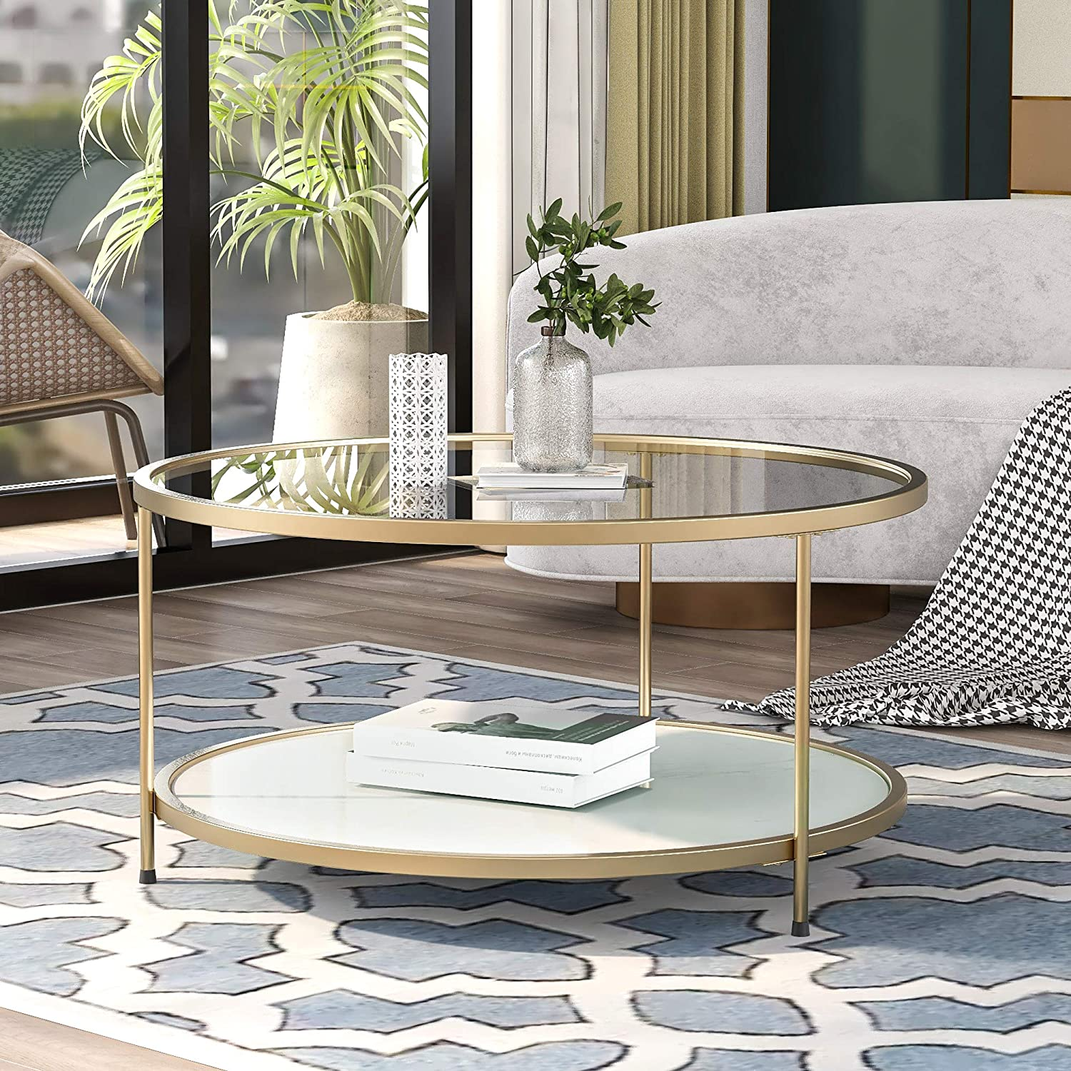 P PURLOVE 33.5 inch Round Coffee Table 2 Layer Glass Coffee Table with Storage Shelf,Coffee Table with Glass Tabletop and Metal Frame for Home Living Room Bedroom Lounge Office