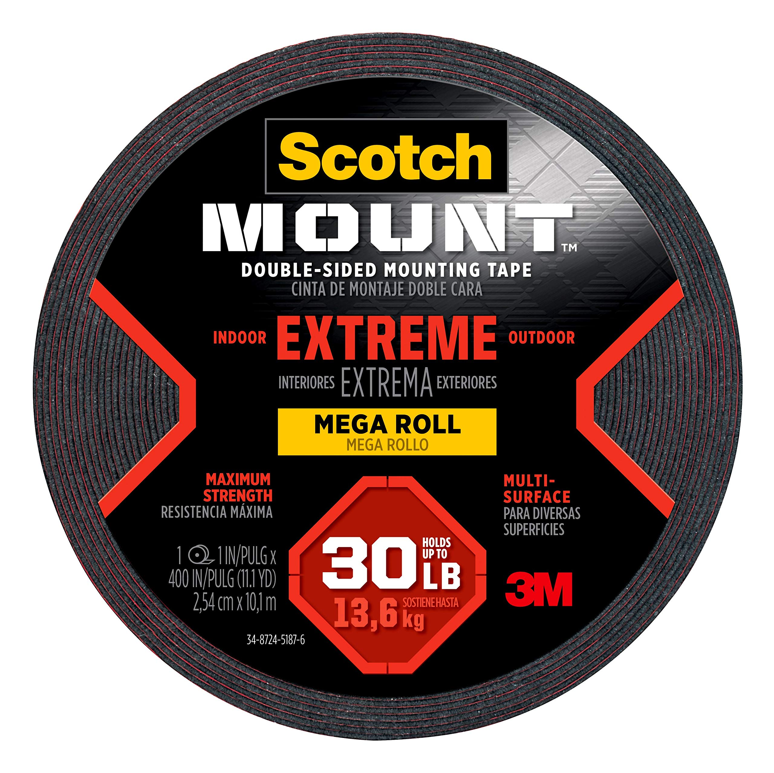 Scotch-Mount Extreme Double-Sided Mounting Tape Mega Roll 414H-Long-DC, 1 in x 400 in