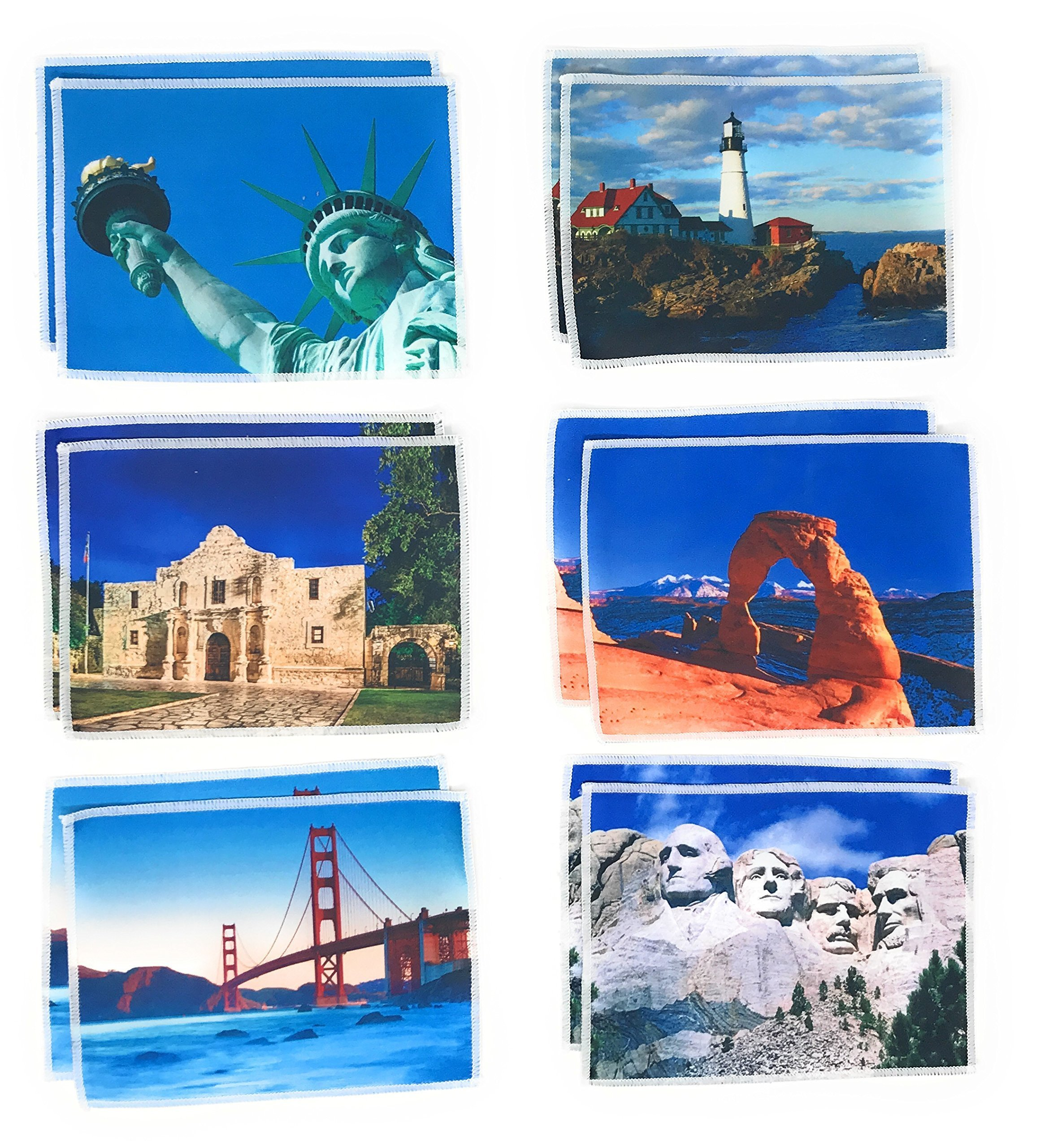 12 Bulk Microfiber Tech Screen Cleaning Cloths Featuring Iconic American Landmarks Monuments