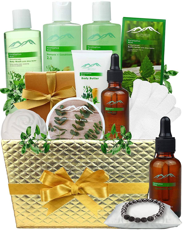 Pampering Gift Set Eucalyptus Mint Aromatherapy Spa Baskets for Men & Women. Bath & Body Spa Gift Baskets for Relaxation! Best Holiday Gift Baskets for Men & Women.