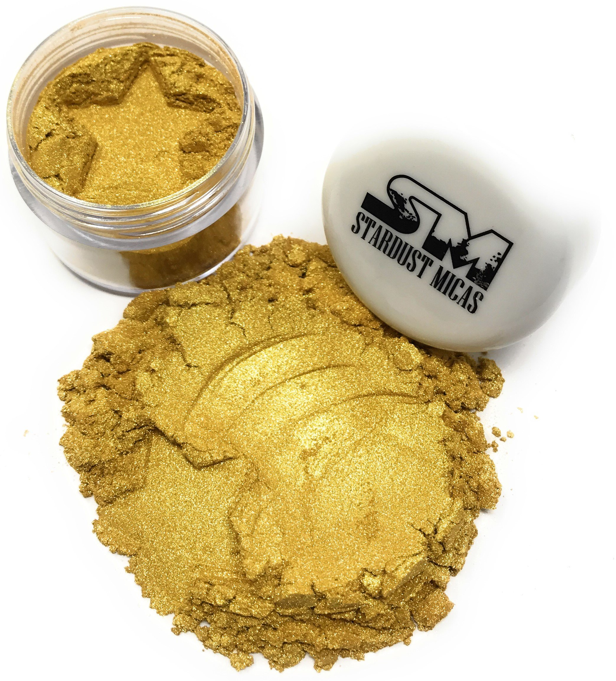Stardust Micas Pigment Powder Cosmetic Grade Colorant for Makeup, Soap Making, Bath Bombs, DIY Crafting Projects, Bright True Colors Stable Mica Batch Consistency Queens Gold