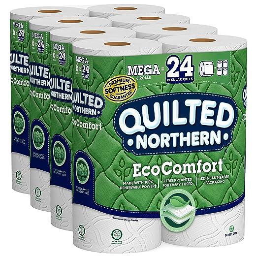 Quilted Northern EcoComfort Toilet Paper, 24 Mega Rolls 2-Ply (4 Packs of 6 Mega Rolls)