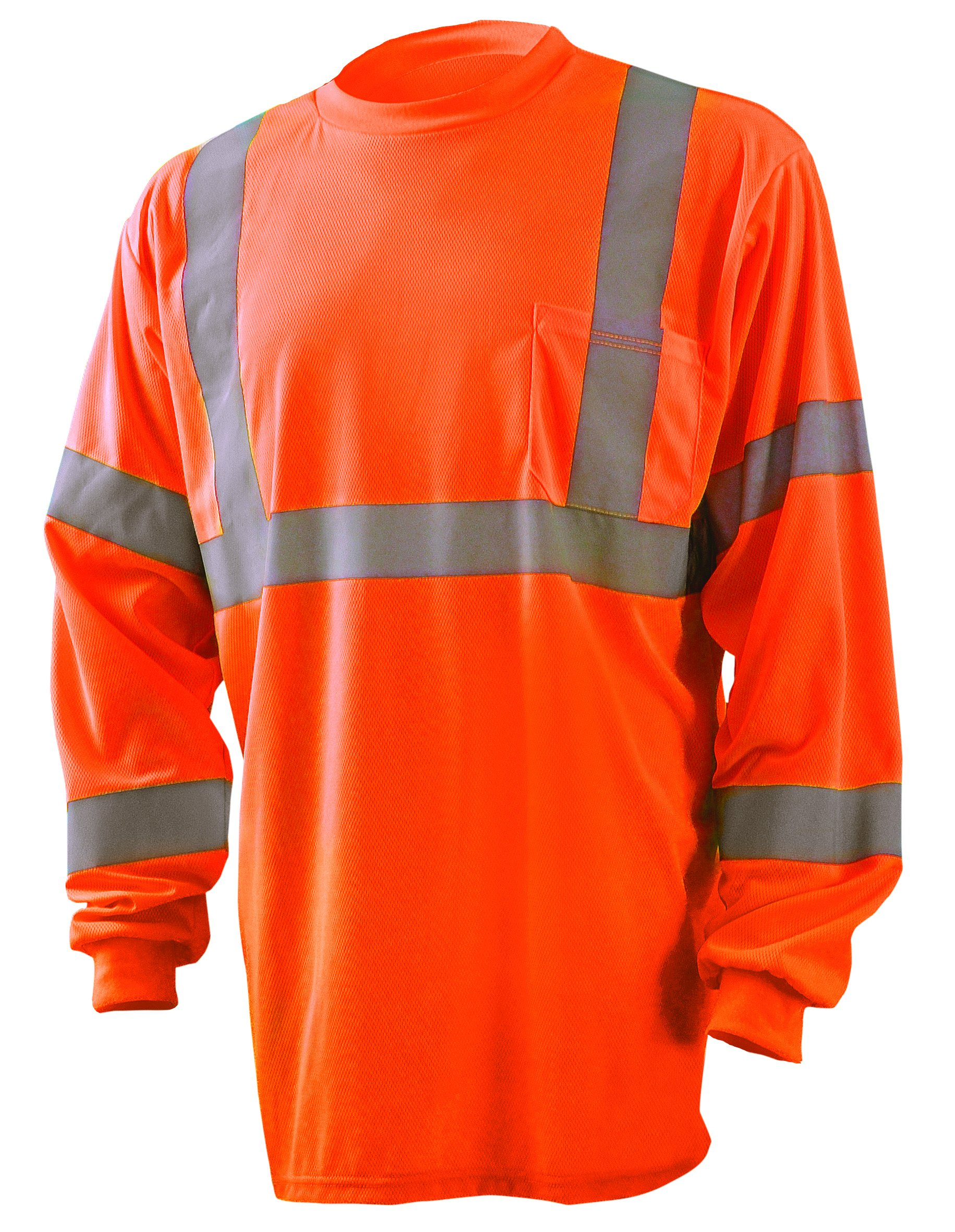 Occunomix LUX-LSETP3B-OL Long Sleeve Wicking Birdseye High Visibility T-Shirt, Class 3, Large, Orange