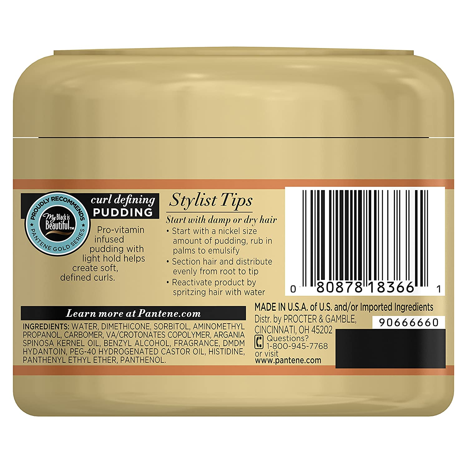 Amazon : Pantene Prov Gold Series Curl Defining Pudding, 76 Fluid  Ounce For African American, Ethnic And Curly Hair Care : Grocery & Gourmet  Food
