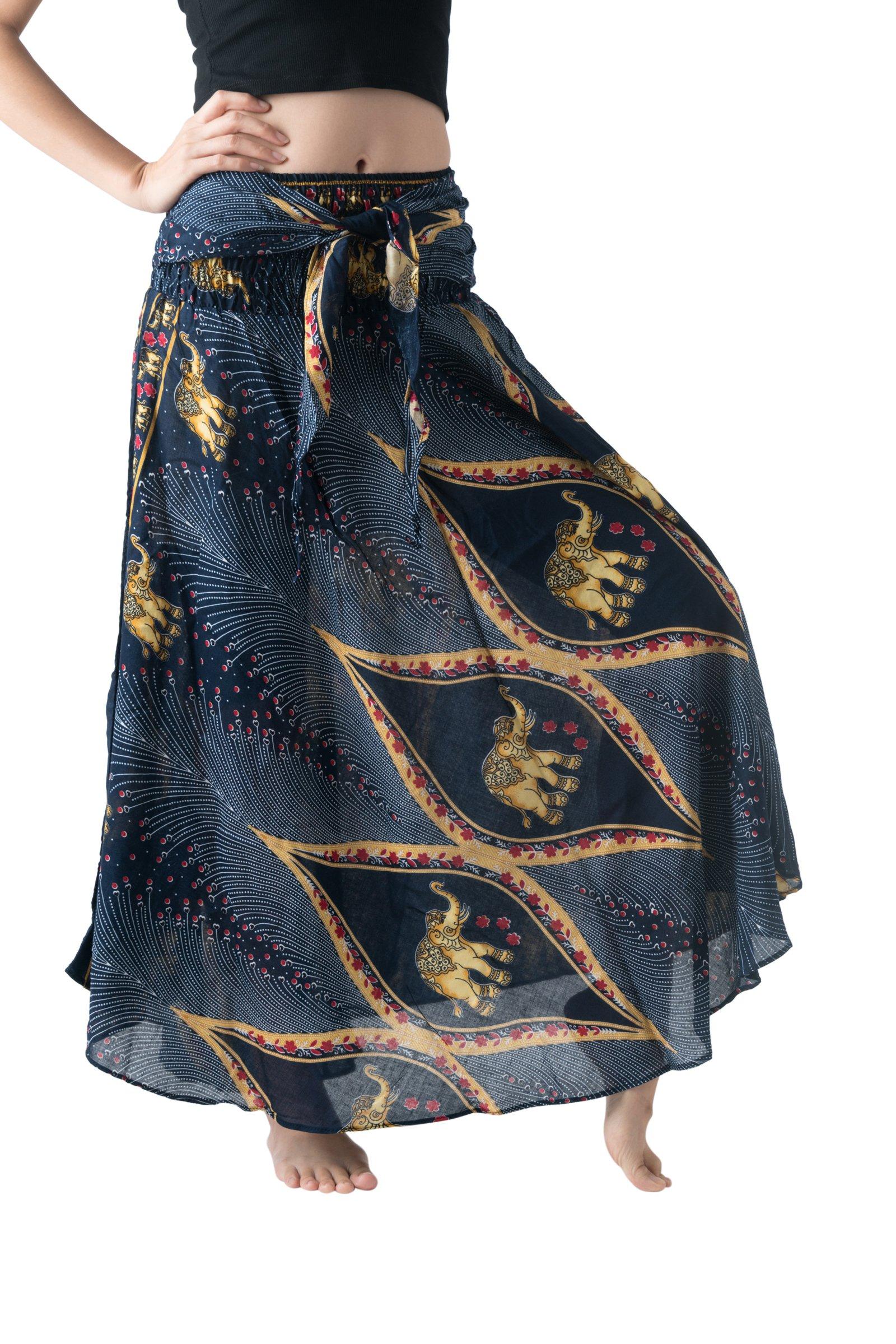 Bangkokpants Women's Long Bohemian Hippie Skirt Boho Dresses Elephant One Size Asymmetric Hem Design (Peacock Elephant Blue, Plus Size)