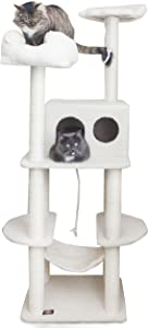 Majestic Pet Products 76 inch Cream Bungalow Cat Furniture Condo House Scratcher Multi Level Pet Activity Tree