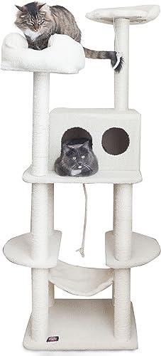 Majestic Pet Products 76 inch Cream Bungalow Cat Furniture Condo House Scratcher Multi Level Pet Activity Tree