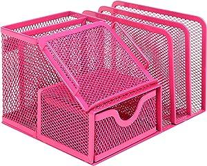 MyGift Metal Mesh Office Supplies Storage Rack, Mail Organizer, Post It Note Memo Pad Holder, Red