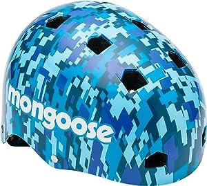 Mongoose BMX Bike Helmet, Multi Sport Kids Helmet, Camouflage/Blue