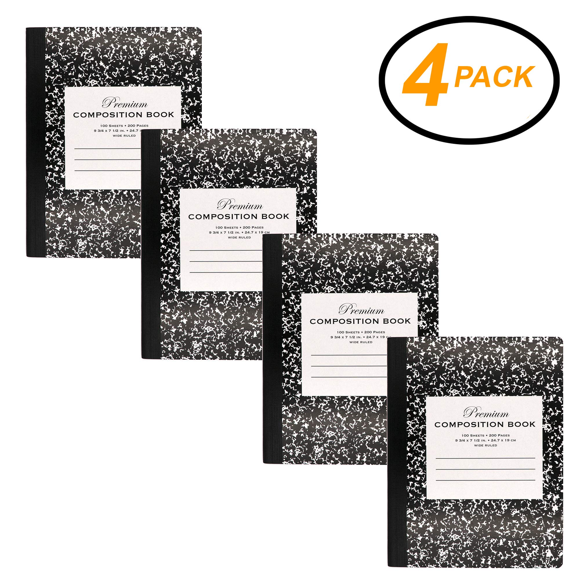 Emraw Premium Black Marble Composition Book Wide Ruled Paper Office Dairy Note Books 100 sheet Meeting Notebook Journals Hard cover Pack Of 4 Writing Book For school