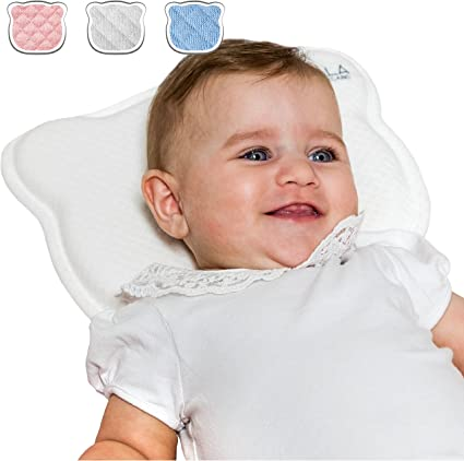 Plagiocephaly Baby Pillow with Two Removable Covers for The Prevention and Cure of Flat Head Syndrome in Memory Foam Anti-Suffocation Perfect Head Pink KoalaBabycare/®