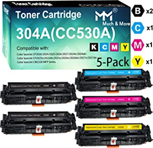 5-Pack(2X BK+C+M+Y 304A CC530A CC531A CC532A CC533A Toner Cartridge CC530 Used for HP Laserjet Enterprise M351MFP M375nw M451nw M451dn M451dw MFP M475dn M475dw Printer, by MuchMore