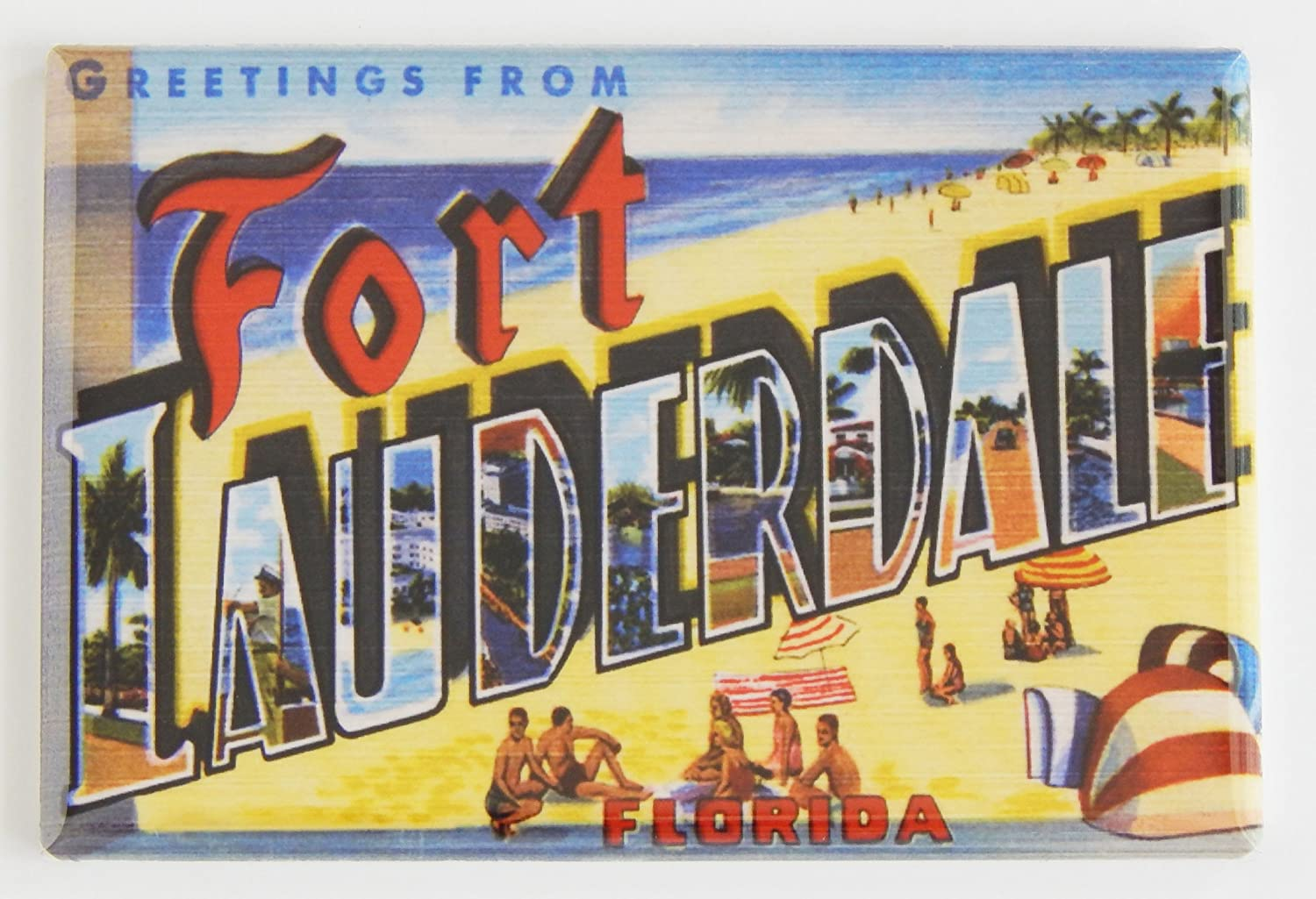 Greetings From Fort Lauderdale Florida Fridge Magnet (2 x 3 inches)