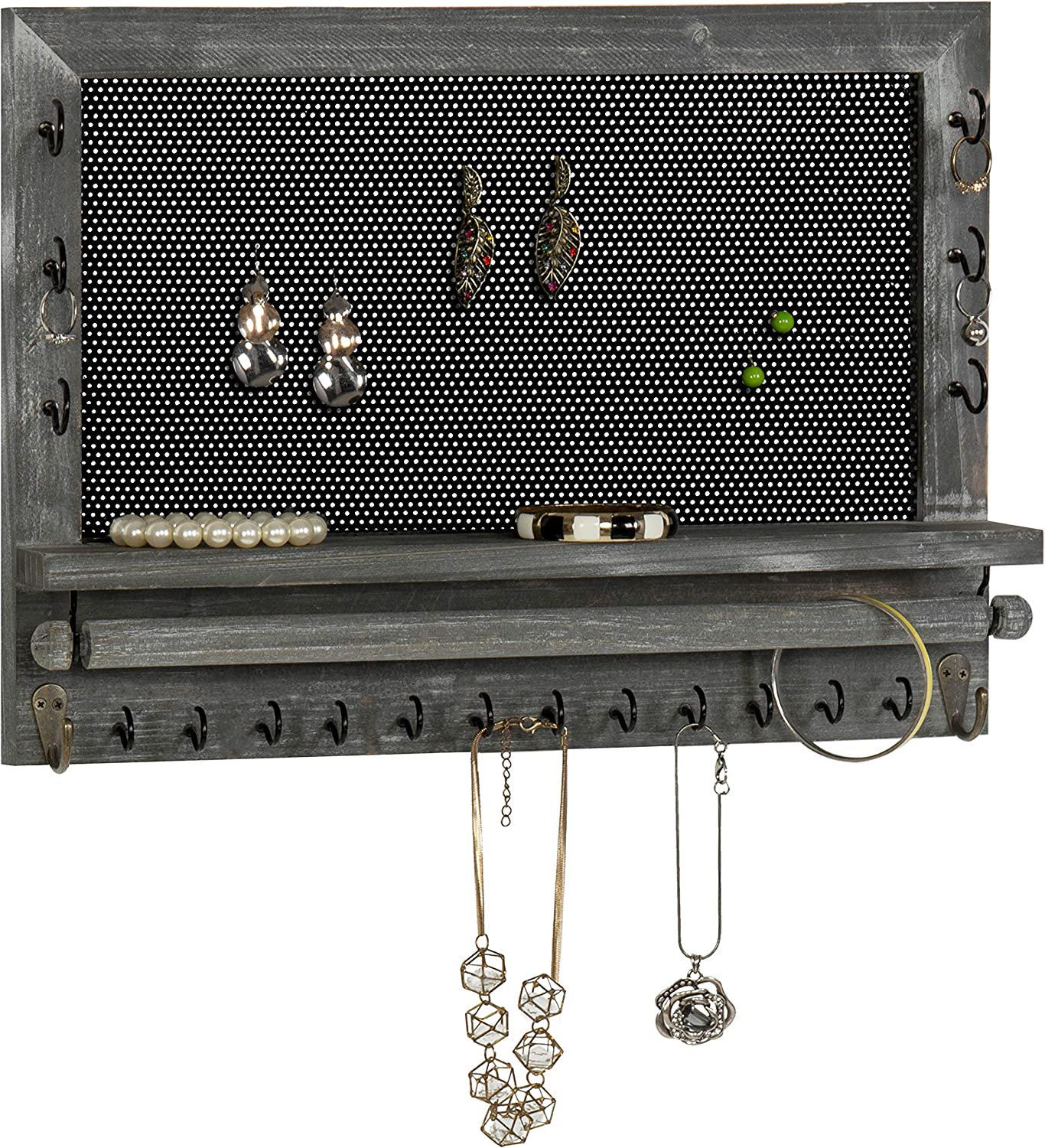 MyGift Wall-Mounted Rustic Gray Wood & Metal Mesh Earring Organizer with 20 Jewelry Hooks and Necklace Bar