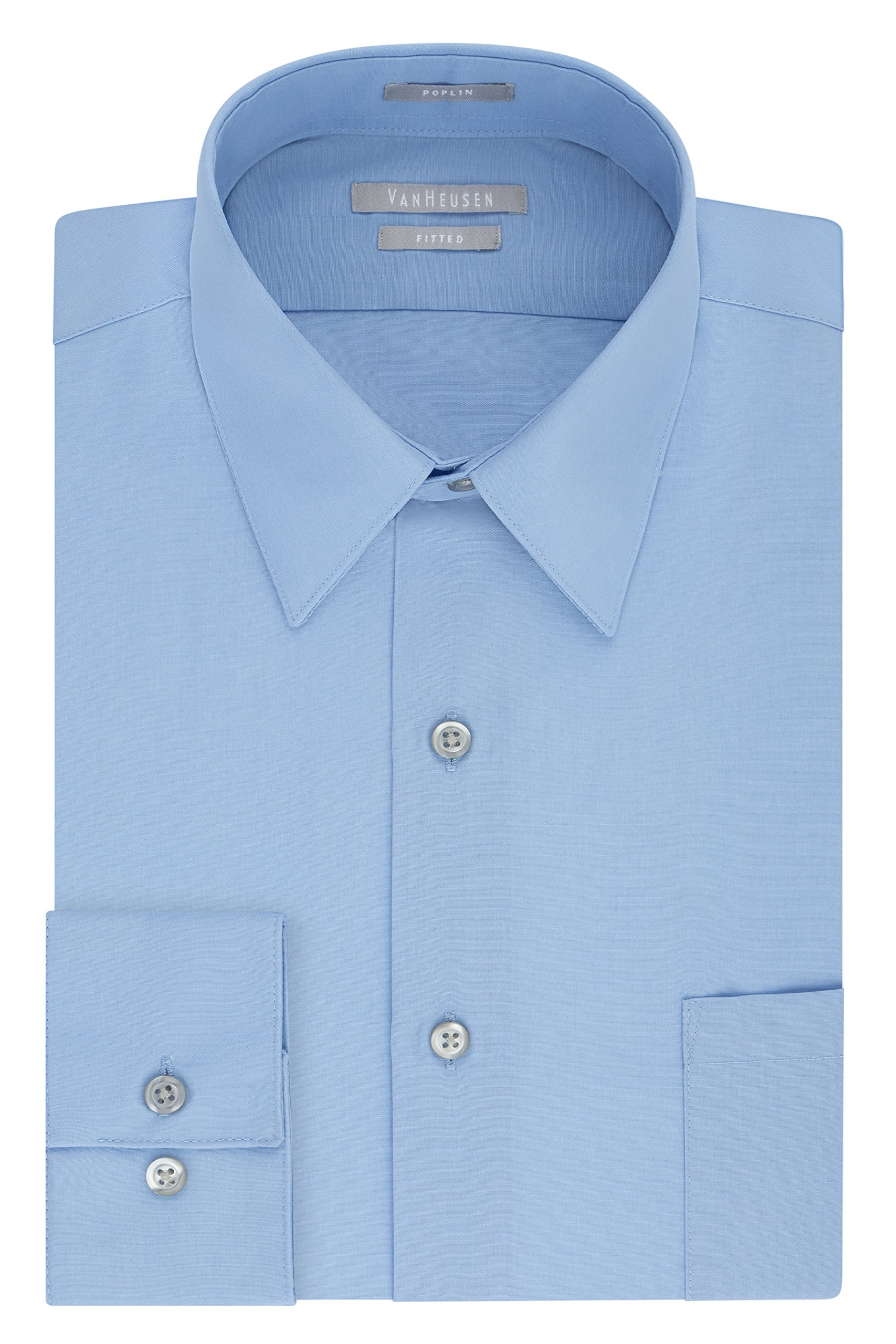 Van Heusen Men's Poplin Fitted Solid Point Collar Dress Shirt, Cameo Blue, 17'' Neck 34''-35'' Sleeve
