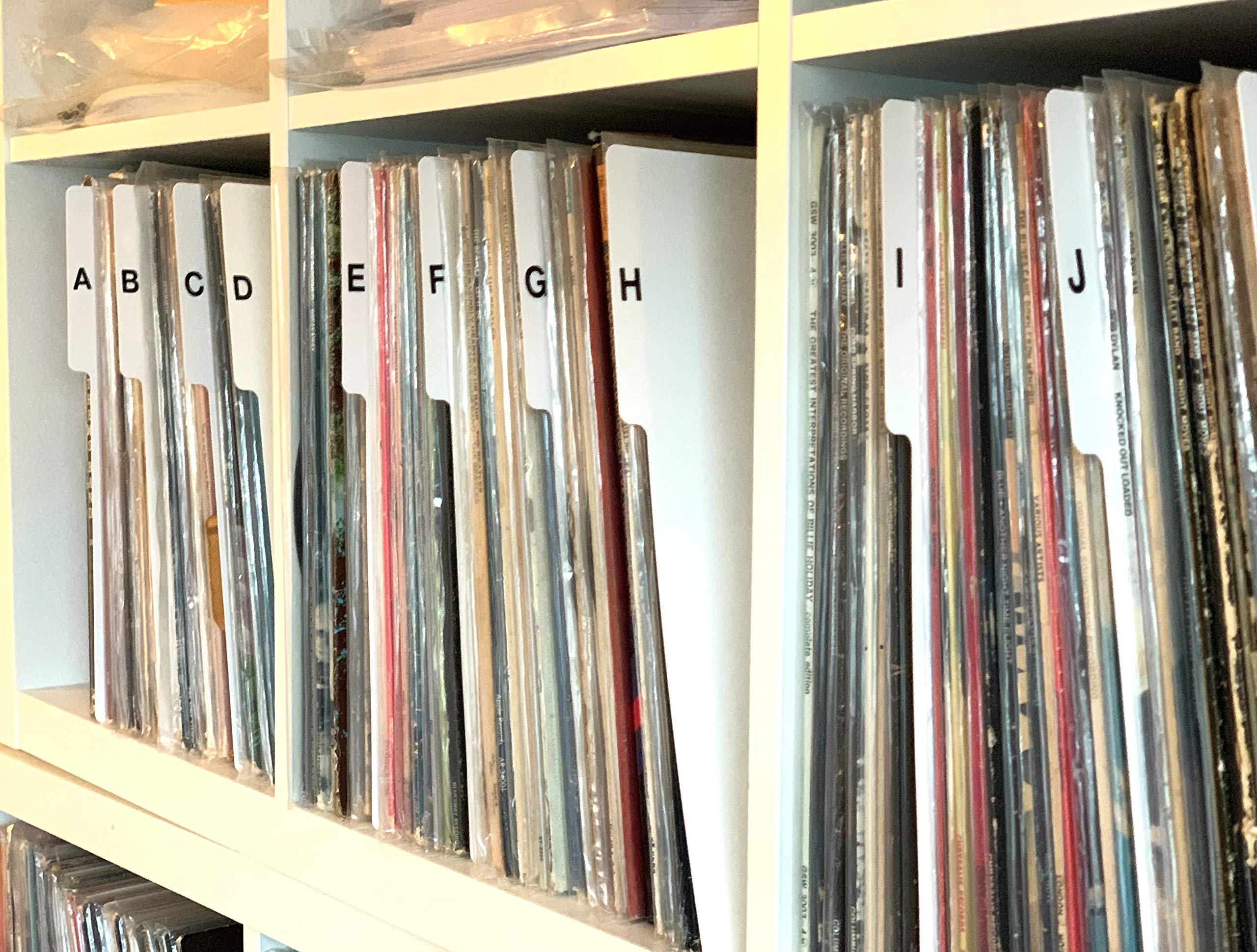A to Z Record Dividers Vertical Tab Professional White Index 12'' 33 LPs Vinyl Album Organizers/Organization A-Z Alphabet Alphabetize Alphabetical Cards