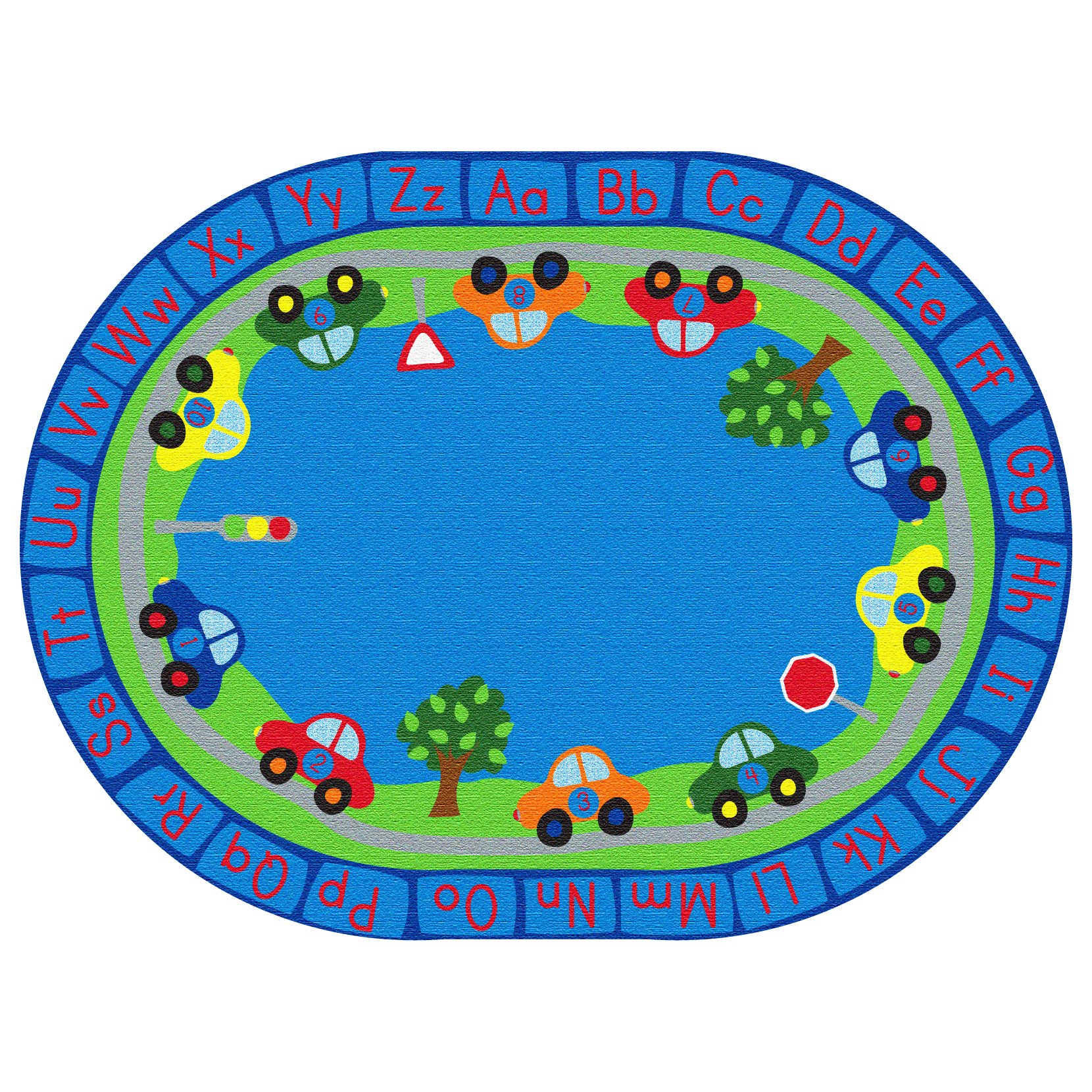 ECR4Kids All Around Cars Educational Alphabet Rug for Children, School Classroom Learning Carpet, Oval, 6 x 9-Feet