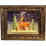 San Francisco Music Box Musical Lighted Reindeer in The Woods Frame