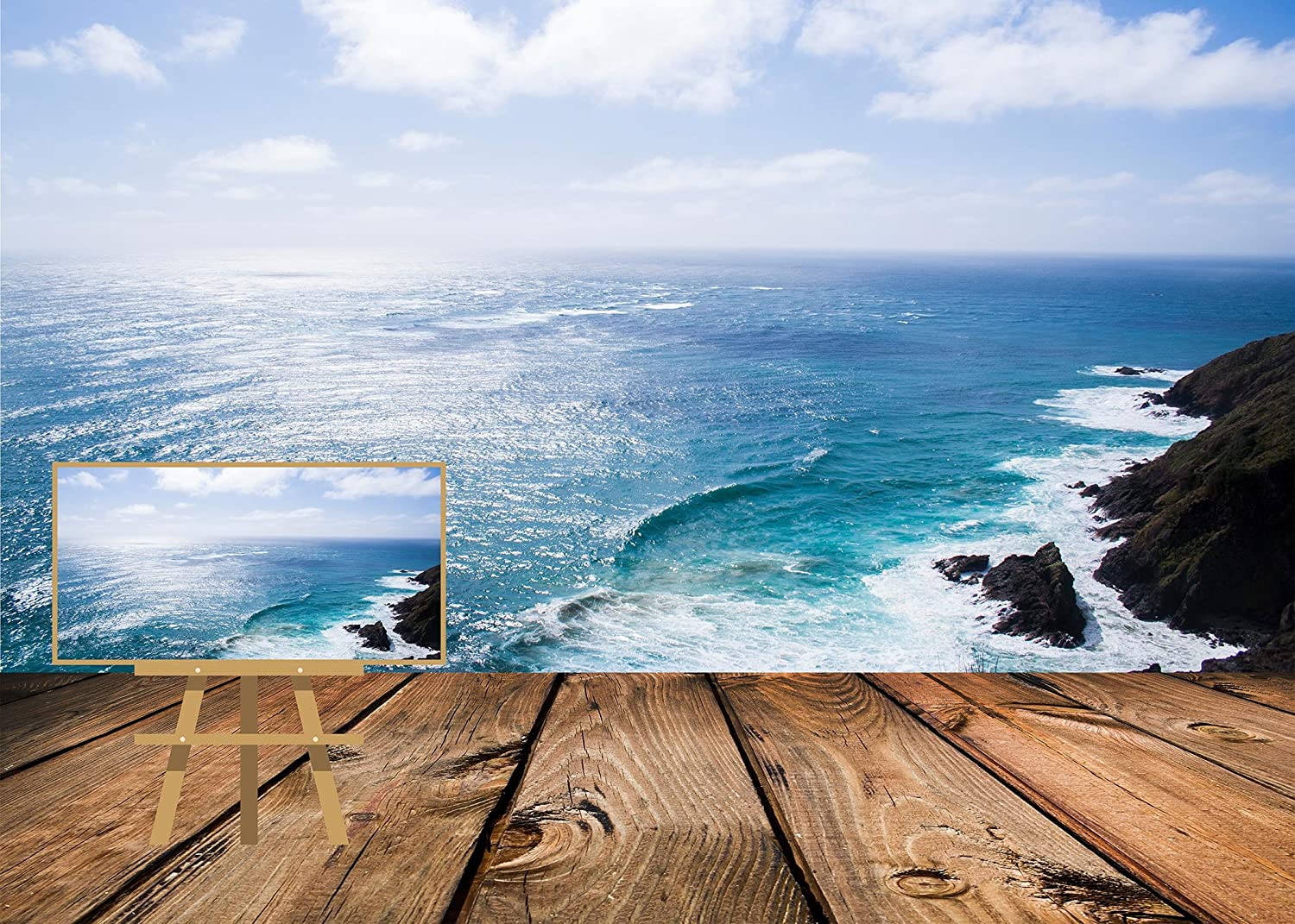 LYLYCTY 7X5ft Creative Photo Backdrop Wooden Trail Creative Perspective Ocean Photography Backdrop Photo Studio Background Props LYK047