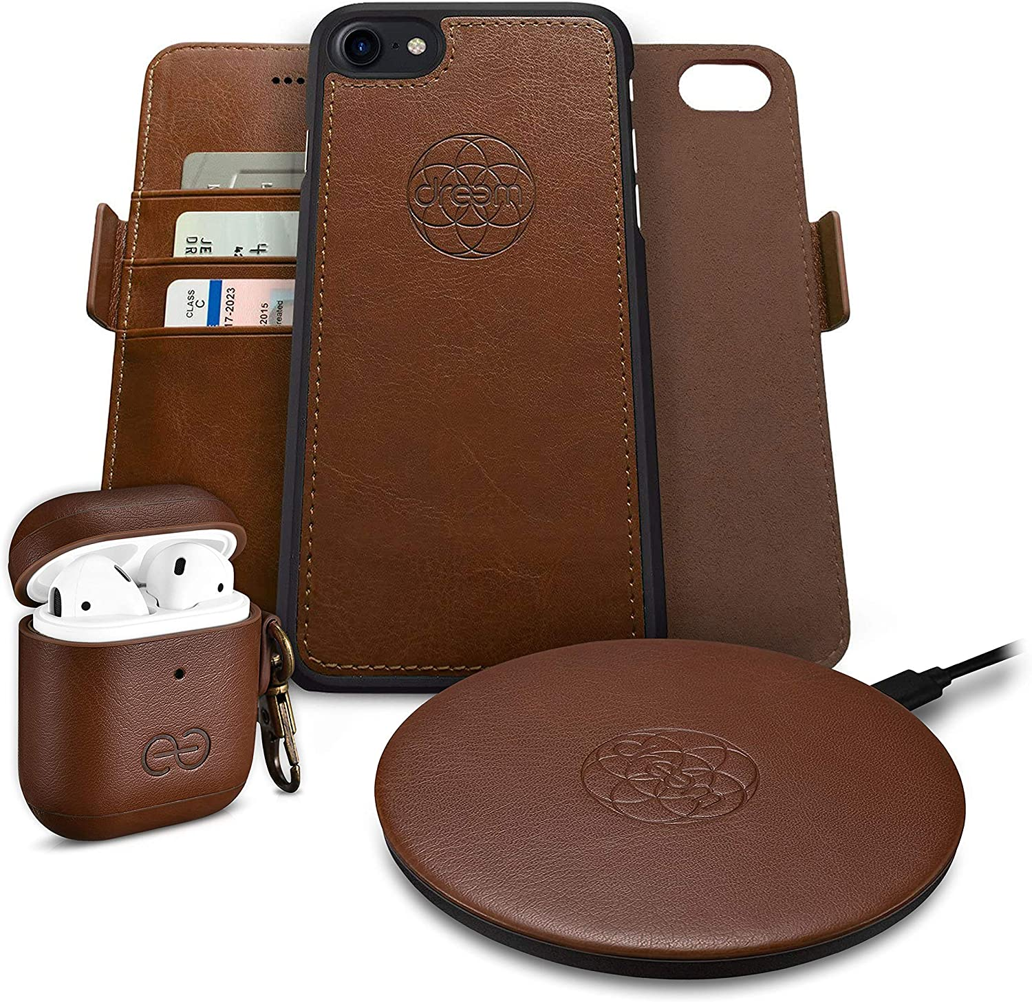 Dreem Bundle: Fibonacci Wallet-Case for iPhone SE 2020 8/7 with Om AirPods 1 & 2 Case Cover and Beam Wireless Charger - Chocolate