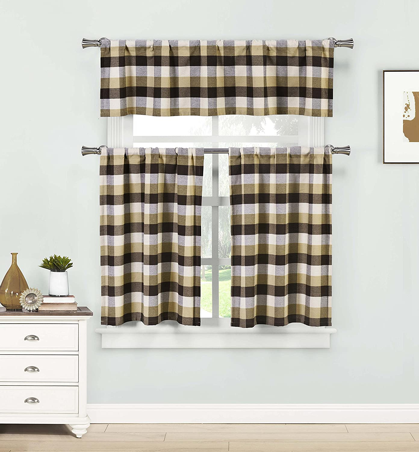 Home Maison- Kingsville Country Plaid Gingham Checkered Kitchen Tier & Valance Set | Small Window Curtain for Cafe, Bath, Laundry, Bedroom - (Brown)