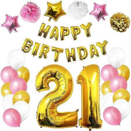 BELLE VOUS 21 Cumpleaños Decoracion (27 Piezas) - cumpleaños Fiesta Bandera Conjunto con Helio Globos, Pom Pom, Látex Frustrar Globos Oro, Blanco & ...