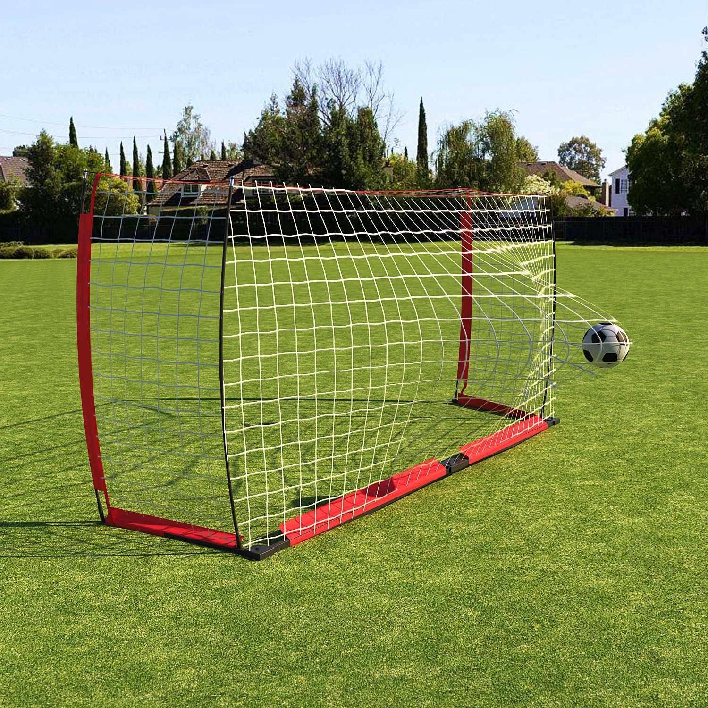rampmu Soccer Net、12 x 6 ft、6 x 4 ftユースポータブルサッカーゴールwith BowスタイルNets B07BRQ3NJHレッド