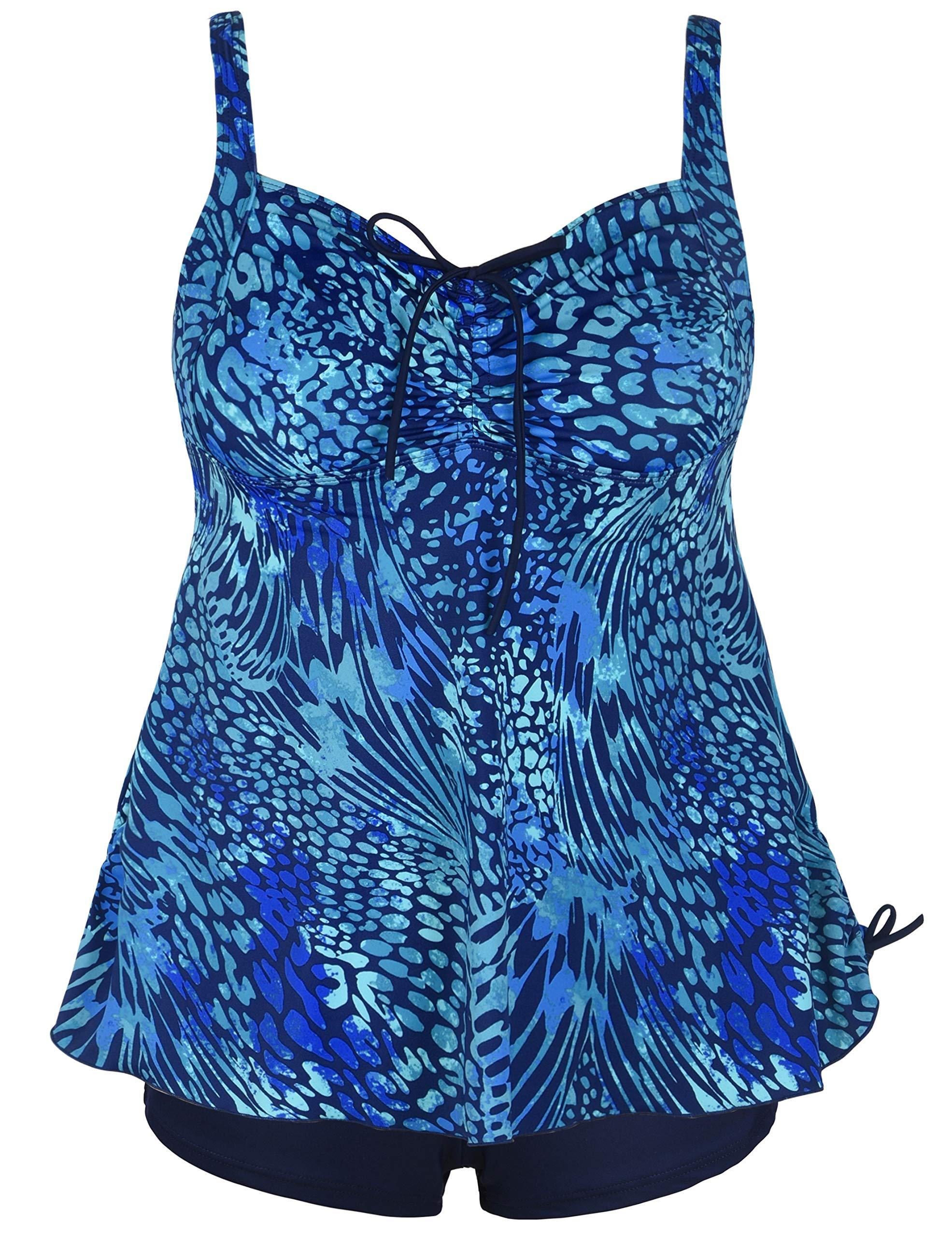 Septangle Women's Plus Size Bathing Suits Paisley Print Two Piece Swimsuit (Blue Leopard Print, US 18W)
