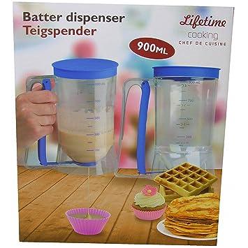 Dispensador de masa de Dosificador - Dosificador - Jarra medidora 900 ml azul Muffin gofres Hornear: Amazon.es: Jardín