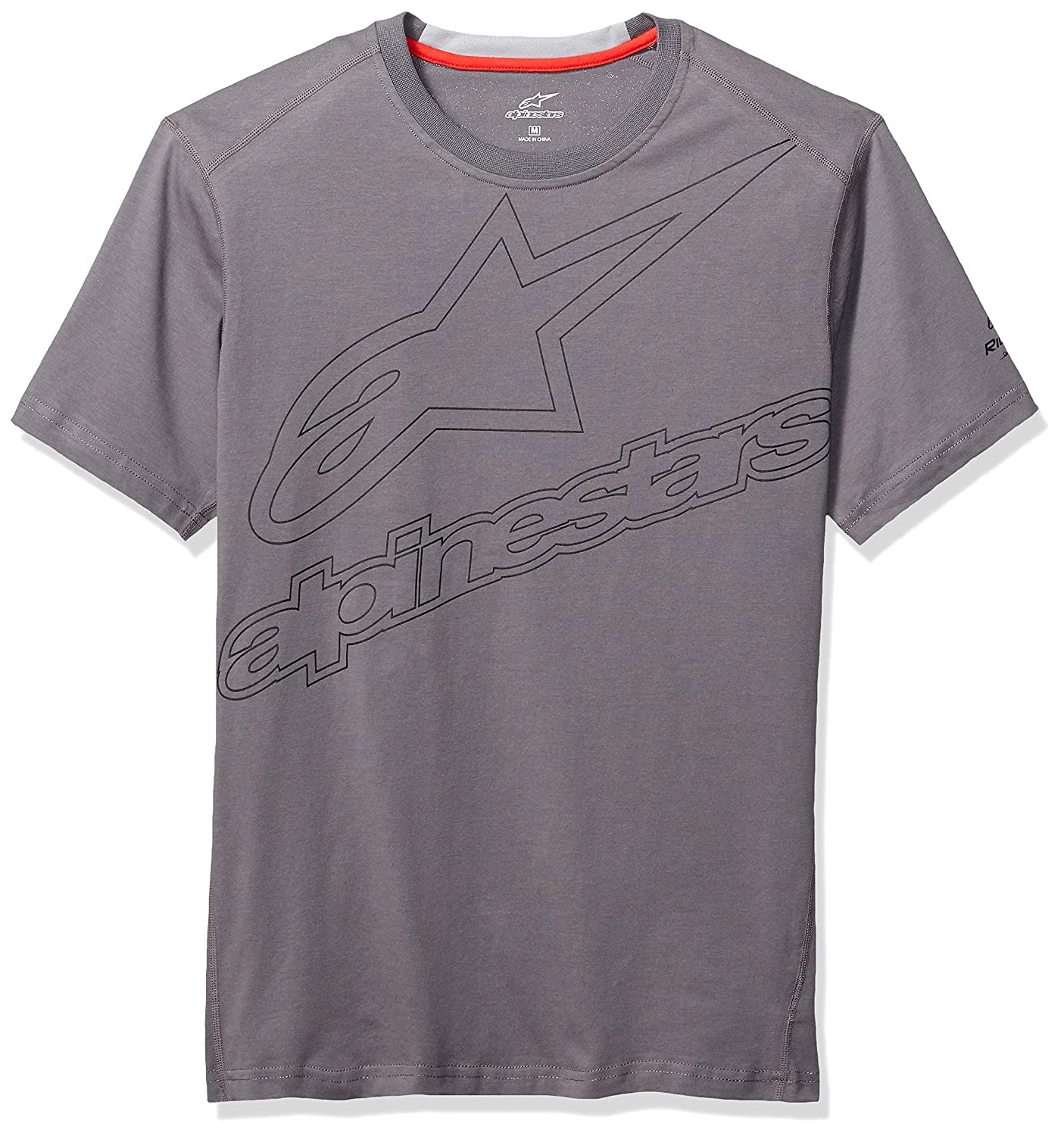 Velocity Ride Dry Tee Charcoal S Alpinestars Velocity Ride Dry Tee - t-Shirt tecnique, Coupe Moderne, Manches Courtes, Haute transpirabilité - Homme