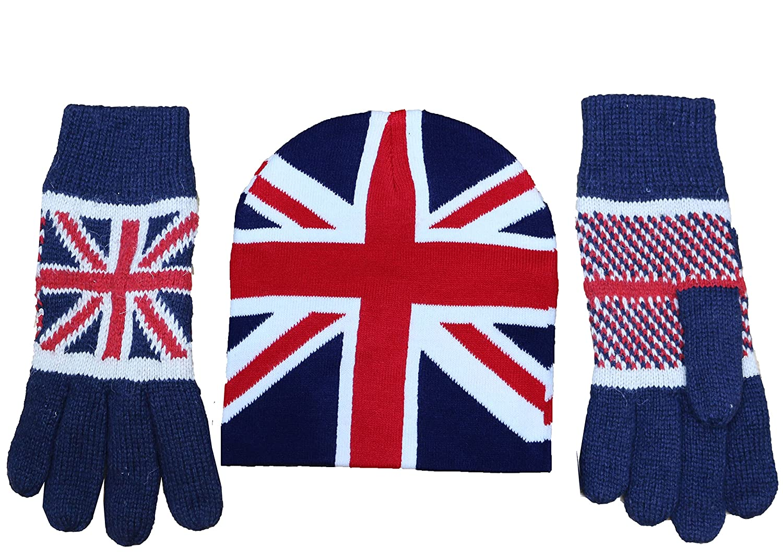 Unisex Women's Men's Union Jack British Flag Gloves Thermal Knitted Fleece Lined, Ski Beanie Hats