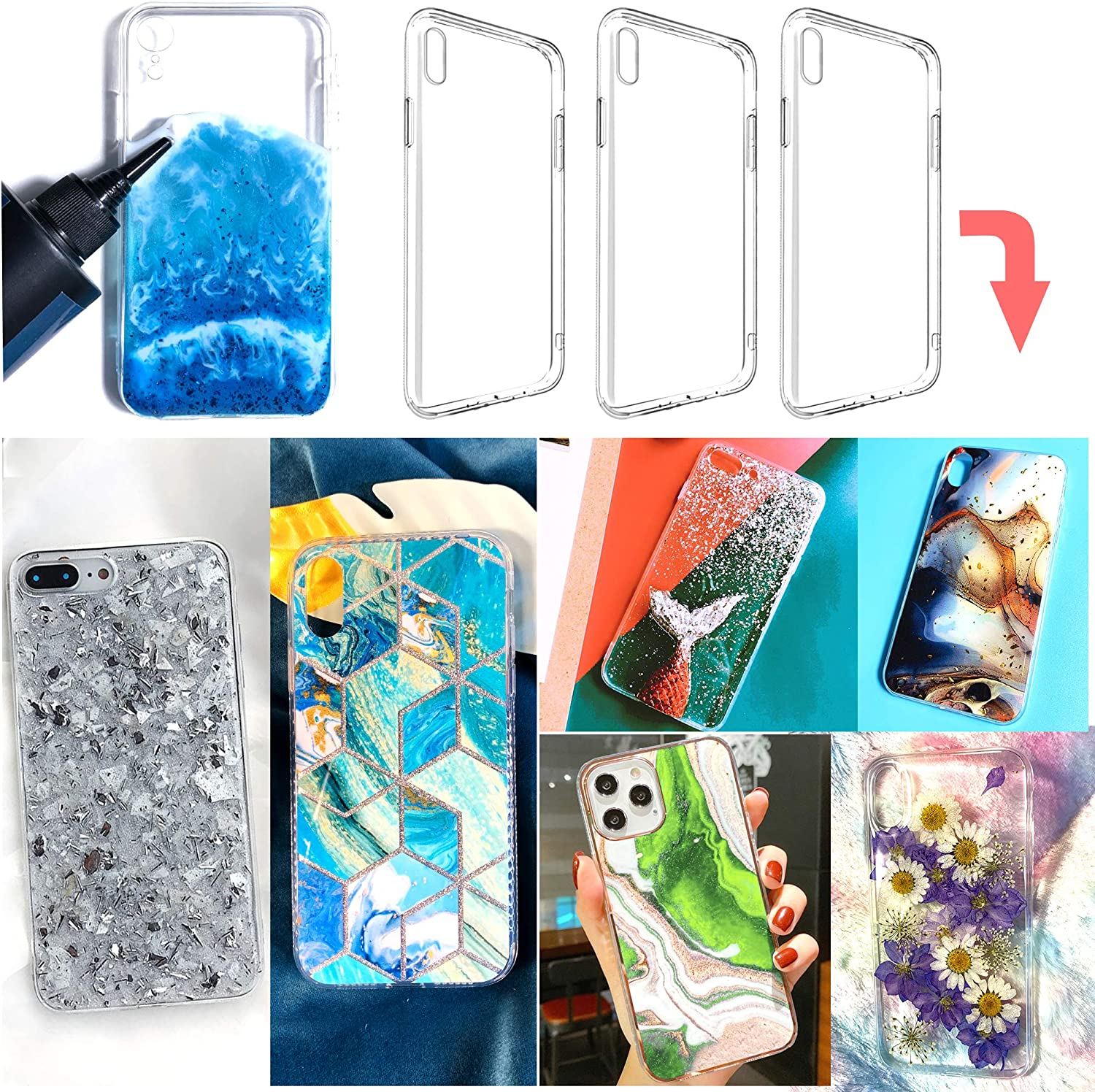 3 pcs epoxy Resin Personalized Mobile Phone case DIY Silicone case for iPhone X/Xs (Note:Product are not Resin Mold, They are 2 pcs Bumper Soft and 1 pcs Hard Phone case with Special Groove Design)