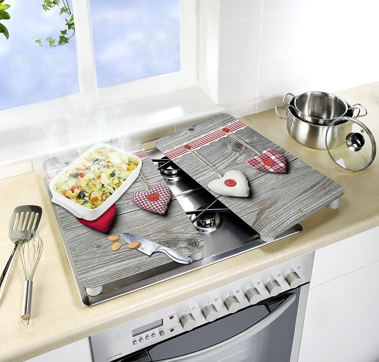 Wenko 2521481100 – Protector de Placas de Cocina Universal (Cristal, diseño de Corazones, Juego de 2 Unidades), Multicolor