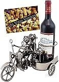 BRUBAKER Porte-bouteille de vin - Couple à moto side-car - Métal - Carte de vœux incluse - Idée cadeau originale - Objet décoratif