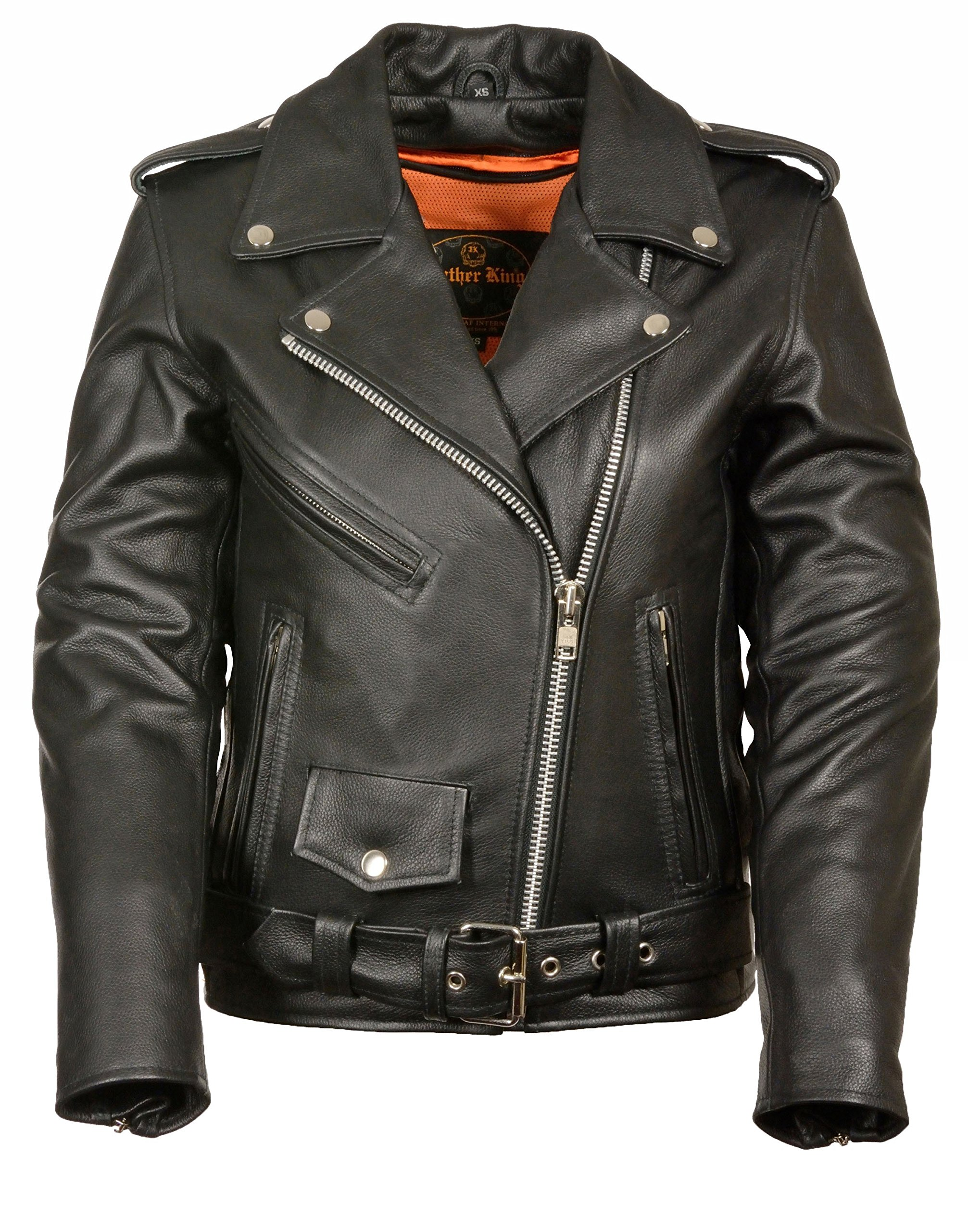 Womens Classic Leather Motorcycle Jacket, Black Size M