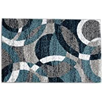 Rugshop Contemporary Modern Circles Abstract Area Rug 2' x 3' Blue