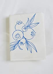Tea Towel - Organic Cotton - Wild Blueberry in Blue-violet - Screen Printed - Flour Sack