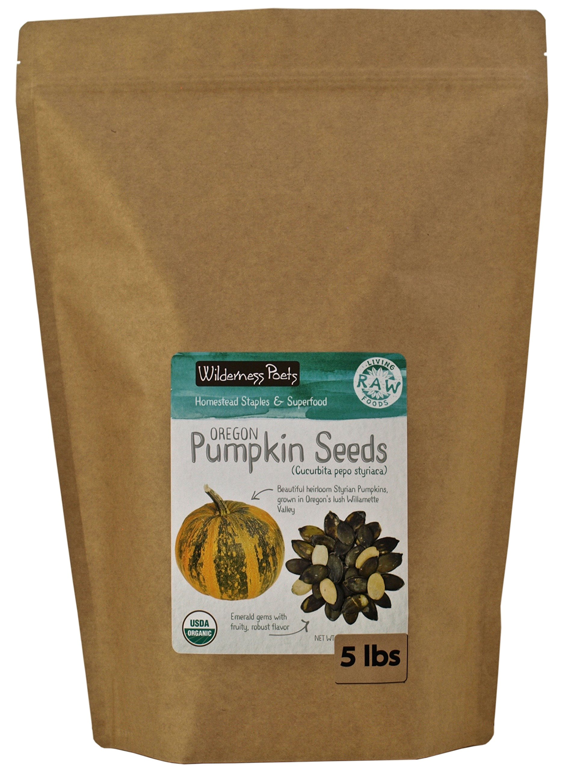 Wilderness Poets, Oregon Pumpkin Seeds - Organic, Raw, Heirloom (5 Pound) by Wilderness Poets