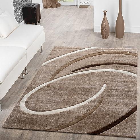 Kurzflor Wohnzimmer Teppich Modern Ebro Mit Spiralen Muster Beige