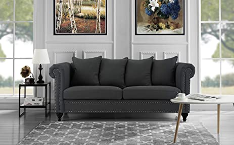 Classic Chesterfield Scroll Arm Linen Living Room Sofa With Nailhead Trim  (Dark Grey)